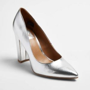 dv Brie Silver Block Heel Shoes New